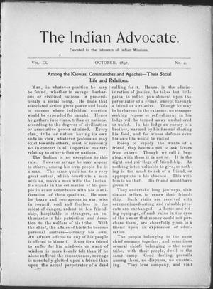 Primary view of object titled 'The Indian Advocate. (Sacred Heart Mission, Okla. Terr.), Vol. 9, No. 4, Ed. 1, Friday, October 1, 1897'.