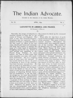 Primary view of object titled 'The Indian Advocate. (Sacred Heart Mission, Okla. Terr.), Vol. 11, No. 2, Ed. 1, Saturday, April 1, 1899'.