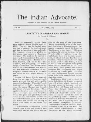 Primary view of object titled 'The Indian Advocate. (Sacred Heart Mission, Okla. Terr.), Vol. 11, No. 4, Ed. 1, Sunday, October 1, 1899'.