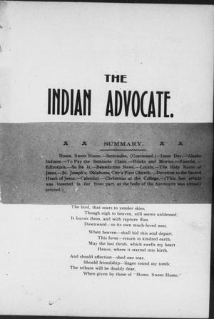 Primary view of object titled 'The Indian Advocate. (Sacred Heart Mission, Okla. Terr.), Vol. 13, No. 1, Ed. 1, Tuesday, January 1, 1901'.