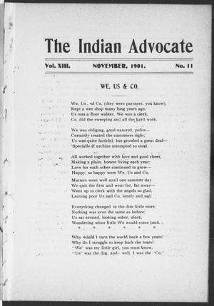 Primary view of object titled 'The Indian Advocate (Sacred Heart Mission, Okla. Terr.), Vol. 13, No. 11, Ed. 1, Friday, November 1, 1901'.