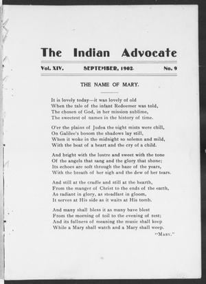 Primary view of object titled 'The Indian Advocate (Sacred Heart Mission, Okla. Terr.), Vol. 14, No. 9, Ed. 1, Monday, September 1, 1902'.