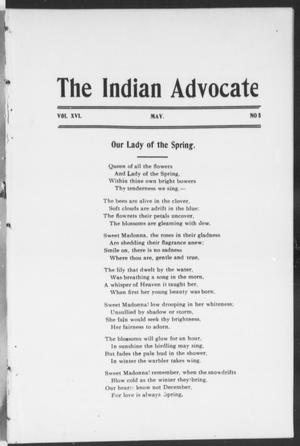 Primary view of object titled 'The Indian Advocate (Sacred Heart Mission, Okla. Terr.), Vol. 16, No. 5, Ed. 1, Sunday, May 1, 1904'.