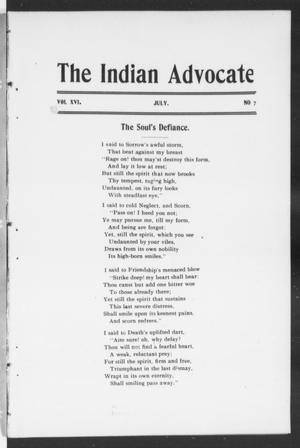 Primary view of object titled 'The Indian Advocate (Sacred Heart Mission, Okla. Terr.), Vol. 16, No. 7, Ed. 1, Friday, July 1, 1904'.