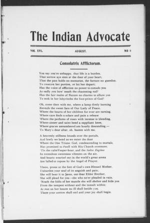 Primary view of object titled 'The Indian Advocate (Sacred Heart Mission, Okla. Terr.), Vol. 16, No. 8, Ed. 1, Monday, August 1, 1904'.