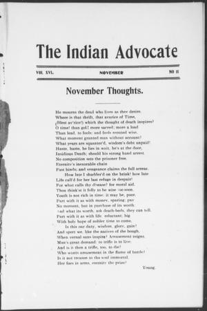 Primary view of object titled 'The Indian Advocate (Sacred Heart Mission, Okla. Terr.), Vol. 16, No. 11, Ed. 1, Tuesday, November 1, 1904'.
