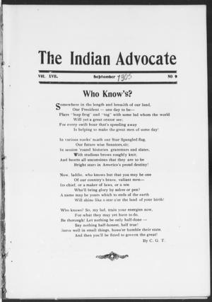 Primary view of object titled 'The Indian Advocate (Sacred Heart Mission, Okla. Terr.), Vol. 17, No. 9, Ed. 1, Friday, September 1, 1905'.