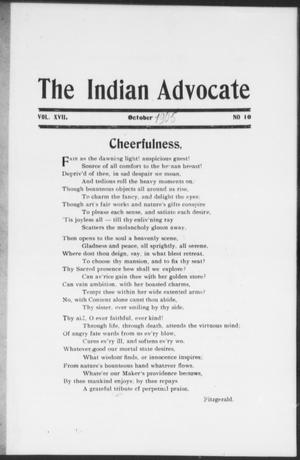 The Indian Advocate (Sacred Heart Mission, Okla. Terr.), Vol. 17, No. 10, Ed. 1, Sunday, October 1, 1905