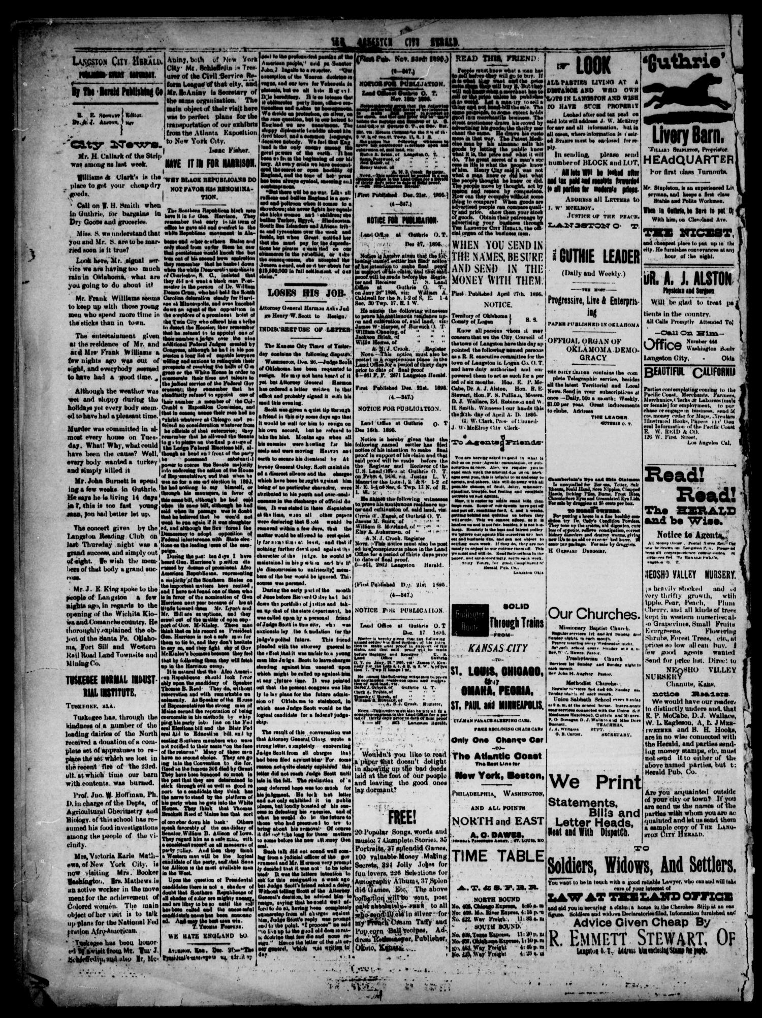The Langston City Herald. (Langston City, Okla. Terr.), Vol. 5, No. 36, Ed. 1, Saturday, December 28, 1895                                                                                                      [Sequence #]: 4 of 4