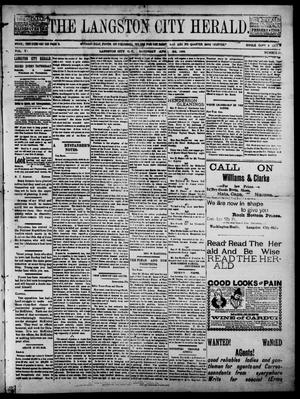 Primary view of object titled 'The Langston City Herald. (Langston City, Okla. Terr.), Vol. 5, No. 50, Ed. 1, Saturday, April 4, 1896'.