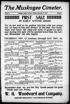 The Muskogee Cimeter. (Muskogee, Indian Terr.), Vol. 6, No. 6, Ed. 1, Thursday, November 17, 1904