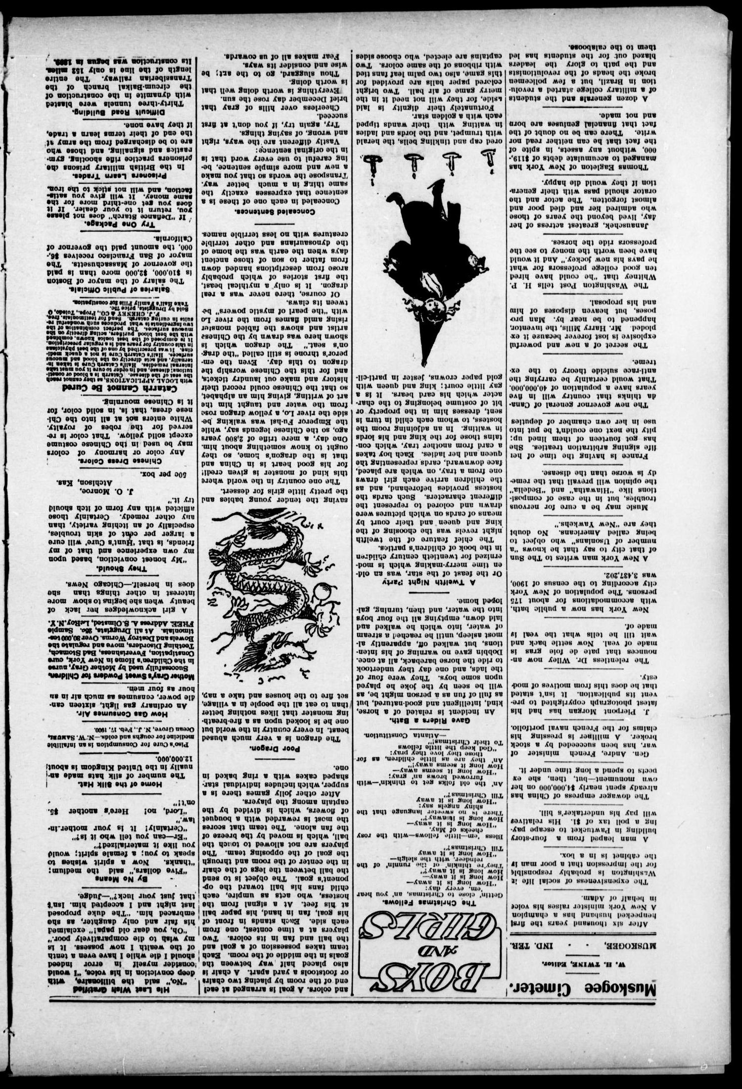 The Muskogee Cimeter. (Muskogee, Indian Terr.), Vol. 6, No. 10, Ed. 1, Thursday, December 15, 1904                                                                                                      [Sequence #]: 2 of 12