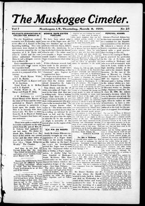 The Muskogee Cimeter. (Muskogee, Indian Terr.), Vol. 7, No. 25, Ed. 1, Thursday, March 8, 1906