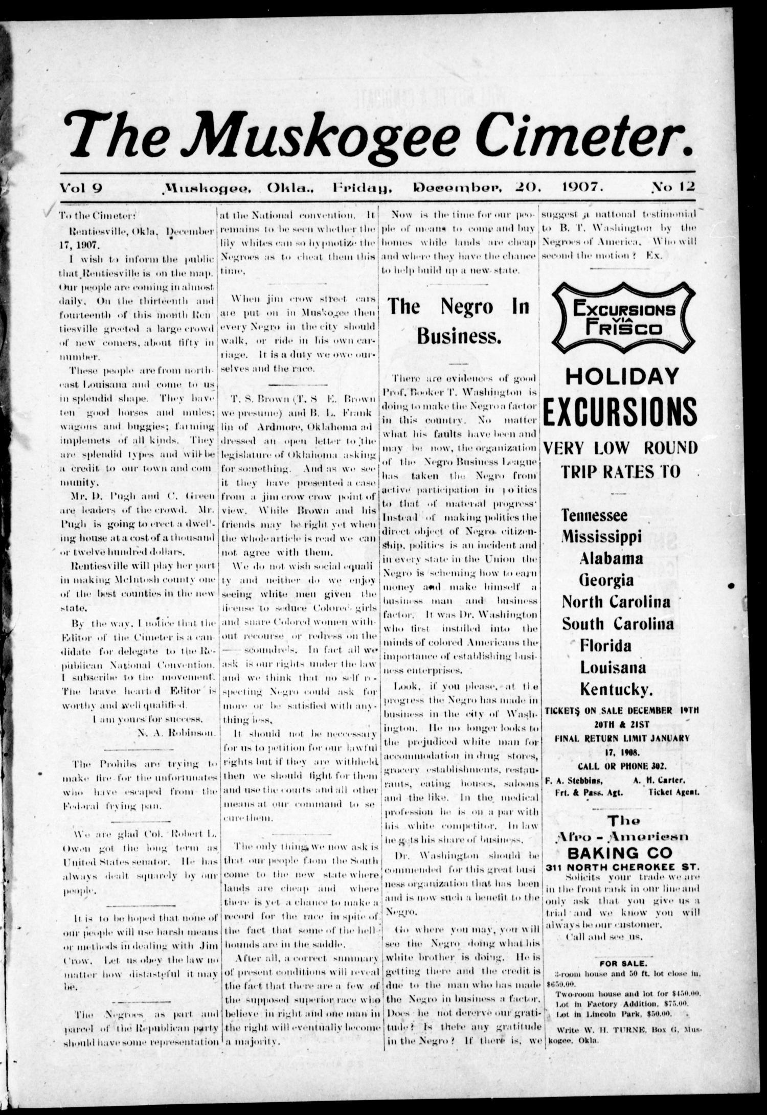 The Muskogee Cimeter. (Muskogee, Okla.), Vol. 9, No. 12, Ed. 1, Friday, December 20, 1907                                                                                                      [Sequence #]: 1 of 8