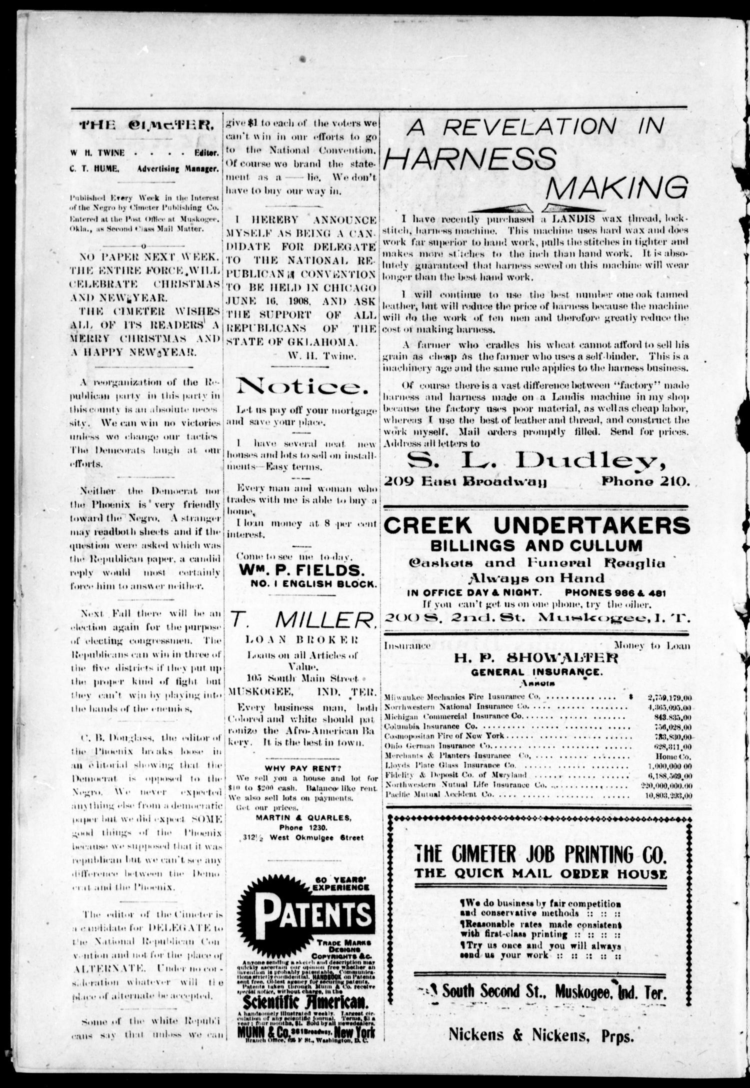 The Muskogee Cimeter. (Muskogee, Okla.), Vol. 9, No. 12, Ed. 1, Friday, December 20, 1907                                                                                                      [Sequence #]: 4 of 8