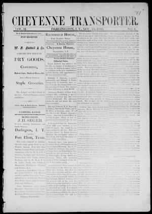 Primary view of Cheyenne Transporter. (Darlington, Indian Terr.), Vol. 2, No. 6, Ed. 1, Wednesday, November 10, 1880