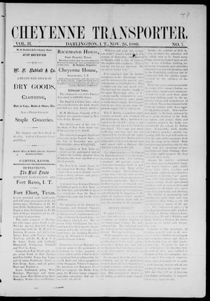 Primary view of Cheyenne Transporter. (Darlington, Indian Terr.), Vol. 2, No. 7, Ed. 1, Friday, November 26, 1880
