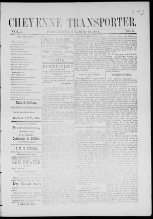 Cheyenne Transporter. (Darlington, Indian Terr.), Vol. 3, No. 5, Ed. 1, Tuesday, October 25, 1881