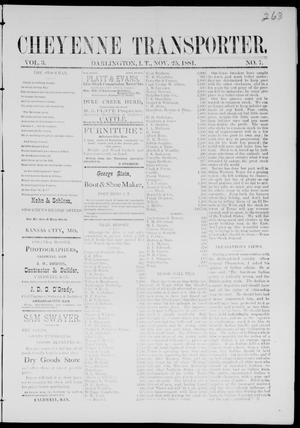 Primary view of Cheyenne Transporter. (Darlington, Indian Terr.), Vol. 3, No. 7, Ed. 1, Friday, November 25, 1881