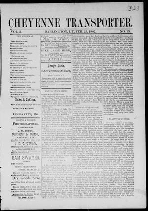 Primary view of Cheyenne Transporter. (Darlington, Indian Terr.), Vol. 3, No. 13, Ed. 1, Saturday, February 25, 1882