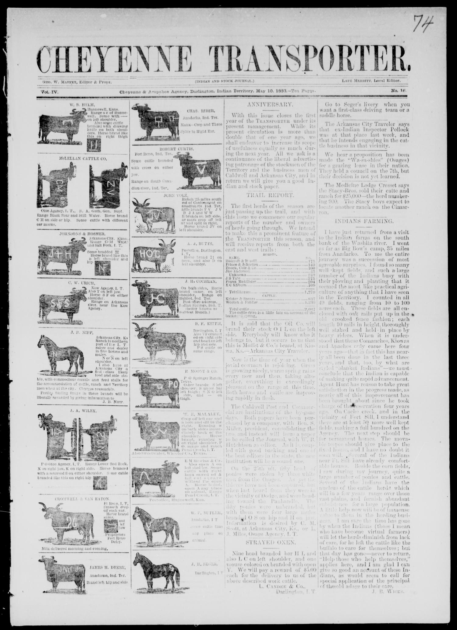 Cheyenne Transporter. (Darlington, Indian Terr.), Vol. 4, No. 16, Ed. 1, Thursday, May 10, 1883                                                                                                      [Sequence #]: 1 of 10