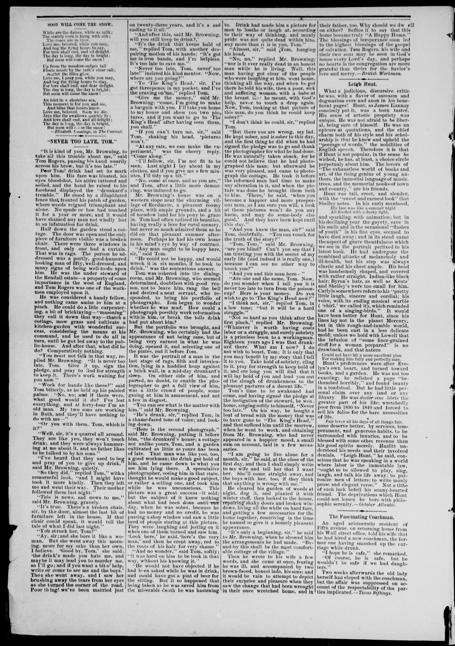 Cheyenne Transporter. (Darlington, Indian Terr.), Vol. 6, No. 2, Ed. 1, Friday, October 10, 1884                                                                                                      [Sequence #]: 2 of 8