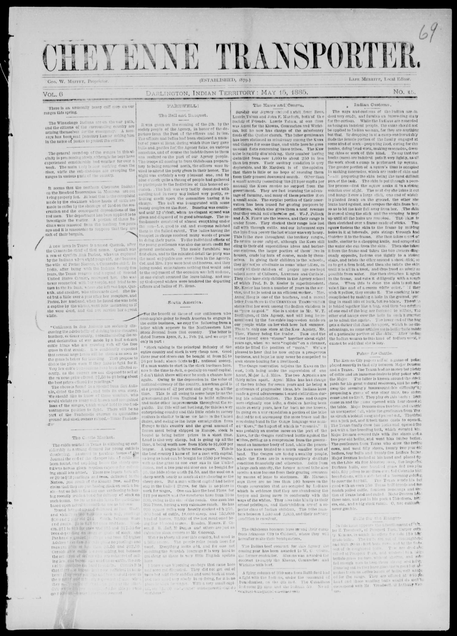 Cheyenne Transporter. (Darlington, Indian Terr.), Vol. 6, No. 15, Ed. 1, Friday, May 15, 1885                                                                                                      [Sequence #]: 1 of 10