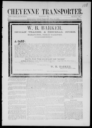 Primary view of Cheyenne Transporter. (Darlington, Indian Terr.), Vol. 7, No. 8, Ed. 1, Saturday, February 20, 1886