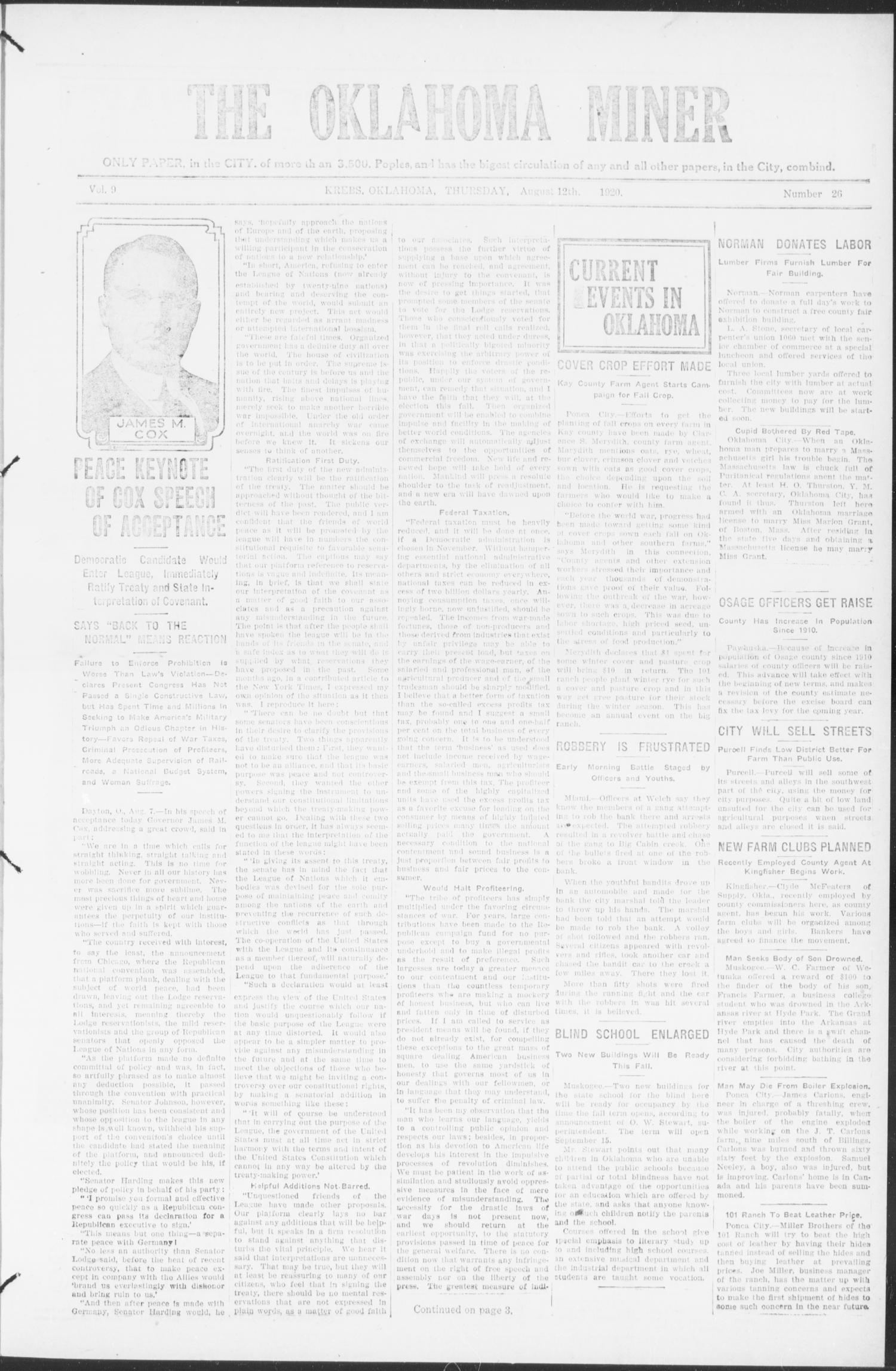 The Oklahoma Miner (Krebs, Okla.), Vol. 9, No. 26, Ed. 1, Thursday, August 12, 1920                                                                                                      [Sequence #]: 1 of 8