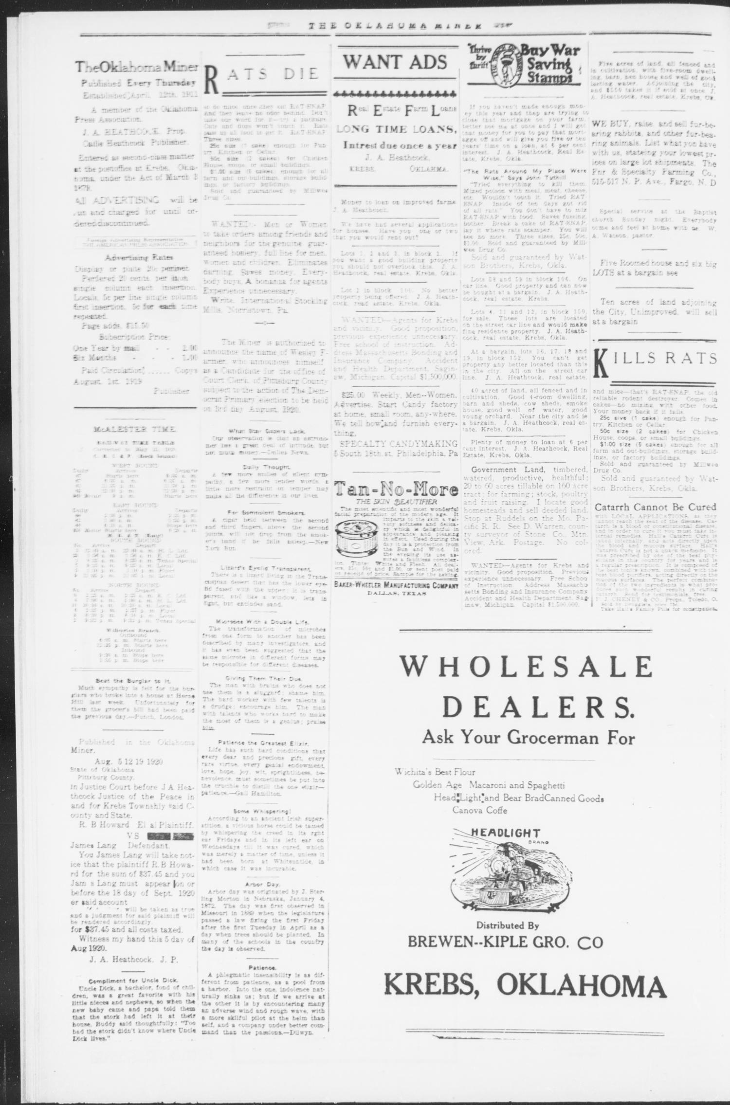 The Oklahoma Miner (Krebs, Okla.), Vol. 9, No. 26, Ed. 1, Thursday, August 12, 1920                                                                                                      [Sequence #]: 6 of 8