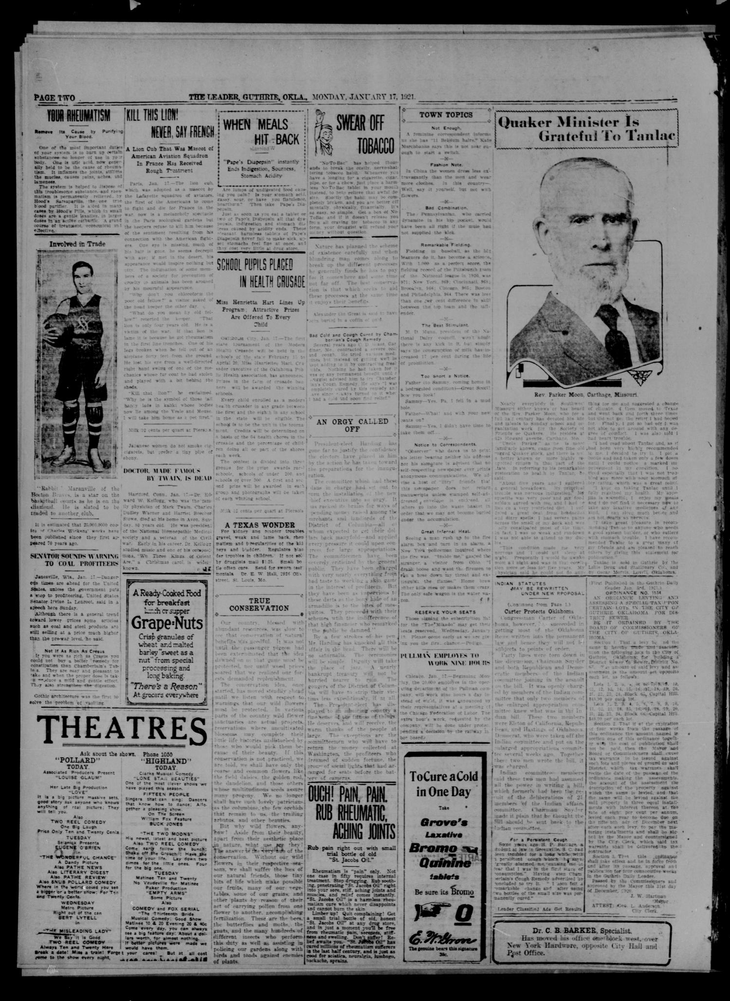 The Guthrie Daily Leader. (Guthrie, Okla.), Vol. 54, No. 111, Ed. 1 Monday, January 17, 1921                                                                                                      [Sequence #]: 2 of 8