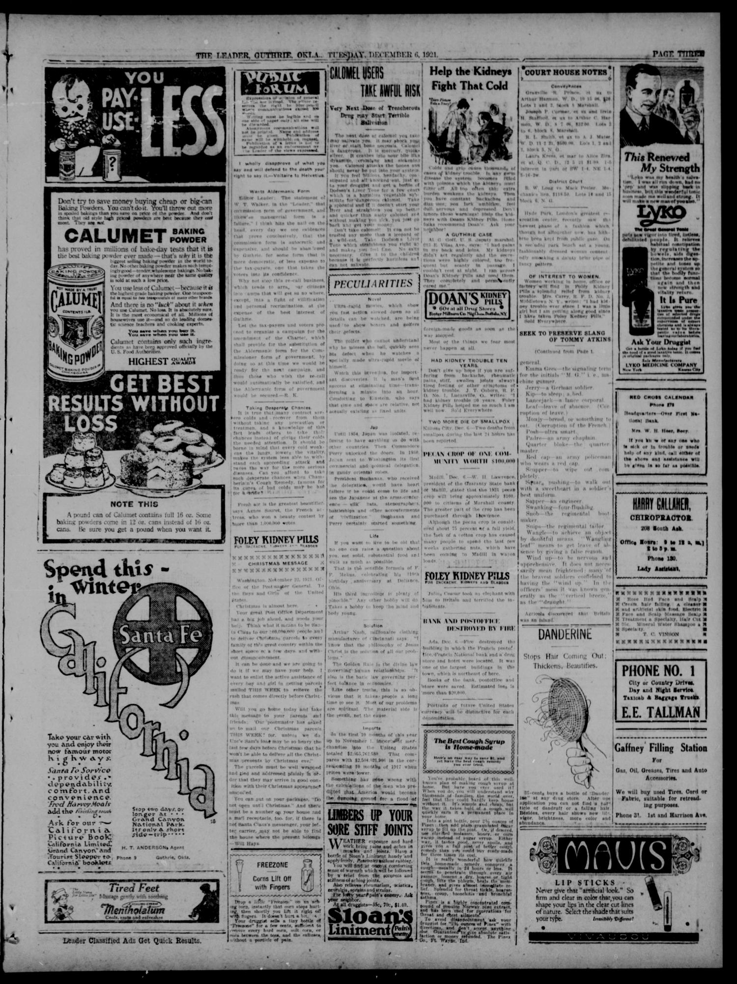 The Guthrie Daily Leader. (Guthrie, Okla.), Vol. 54, No. 70, Ed. 1 Tuesday, December 6, 1921                                                                                                      [Sequence #]: 3 of 8