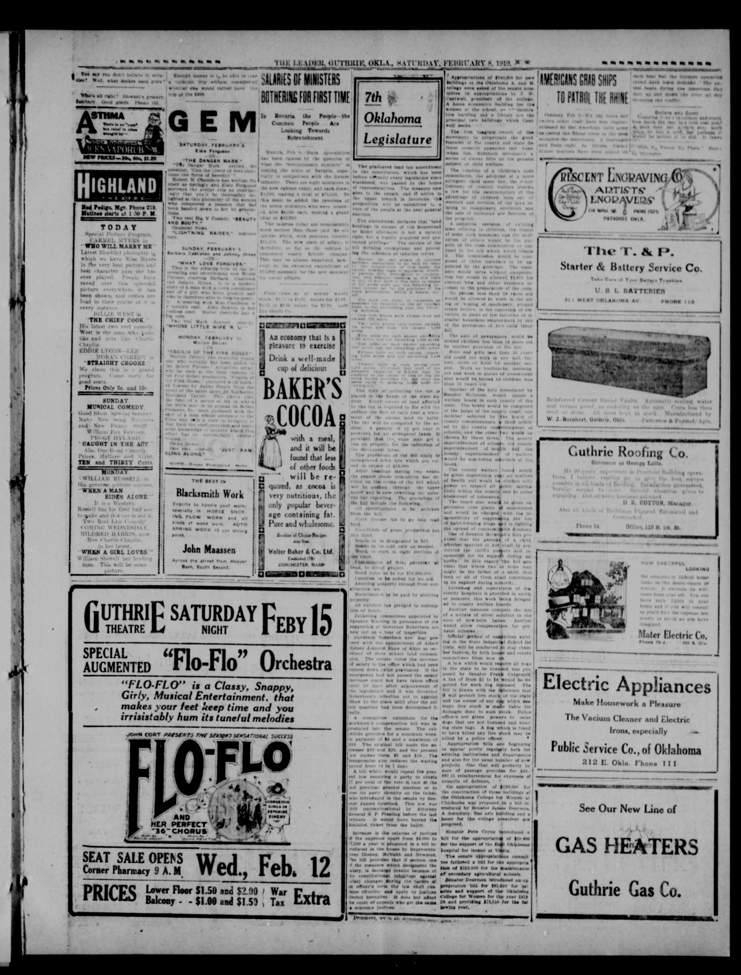 The Guthrie Daily Leader. (Guthrie, Okla.), Vol. 52, No. 150, Ed. 1 Saturday, February 8, 1919                                                                                                      [Sequence #]: 3 of 8