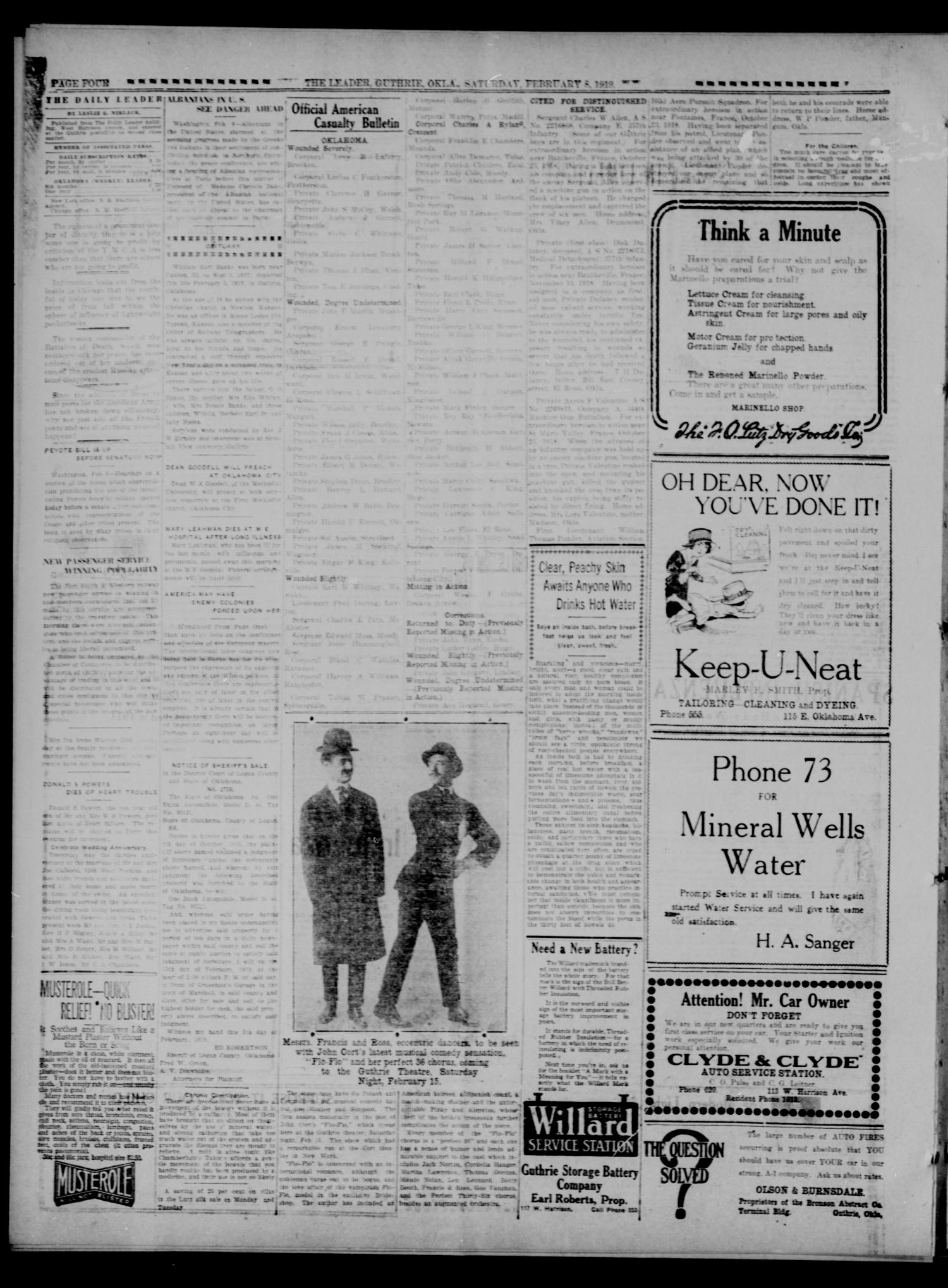 The Guthrie Daily Leader. (Guthrie, Okla.), Vol. 52, No. 150, Ed. 1 Saturday, February 8, 1919                                                                                                      [Sequence #]: 4 of 8