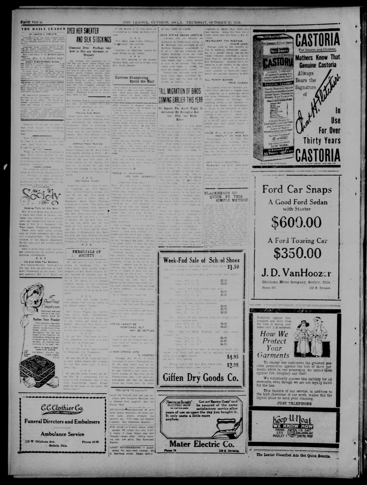 The Guthrie Daily Leader. (Guthrie, Okla.), Vol. 54, No. 31, Ed. 1 Thursday, October 20, 1921                                                                                                      [Sequence #]: 4 of 8