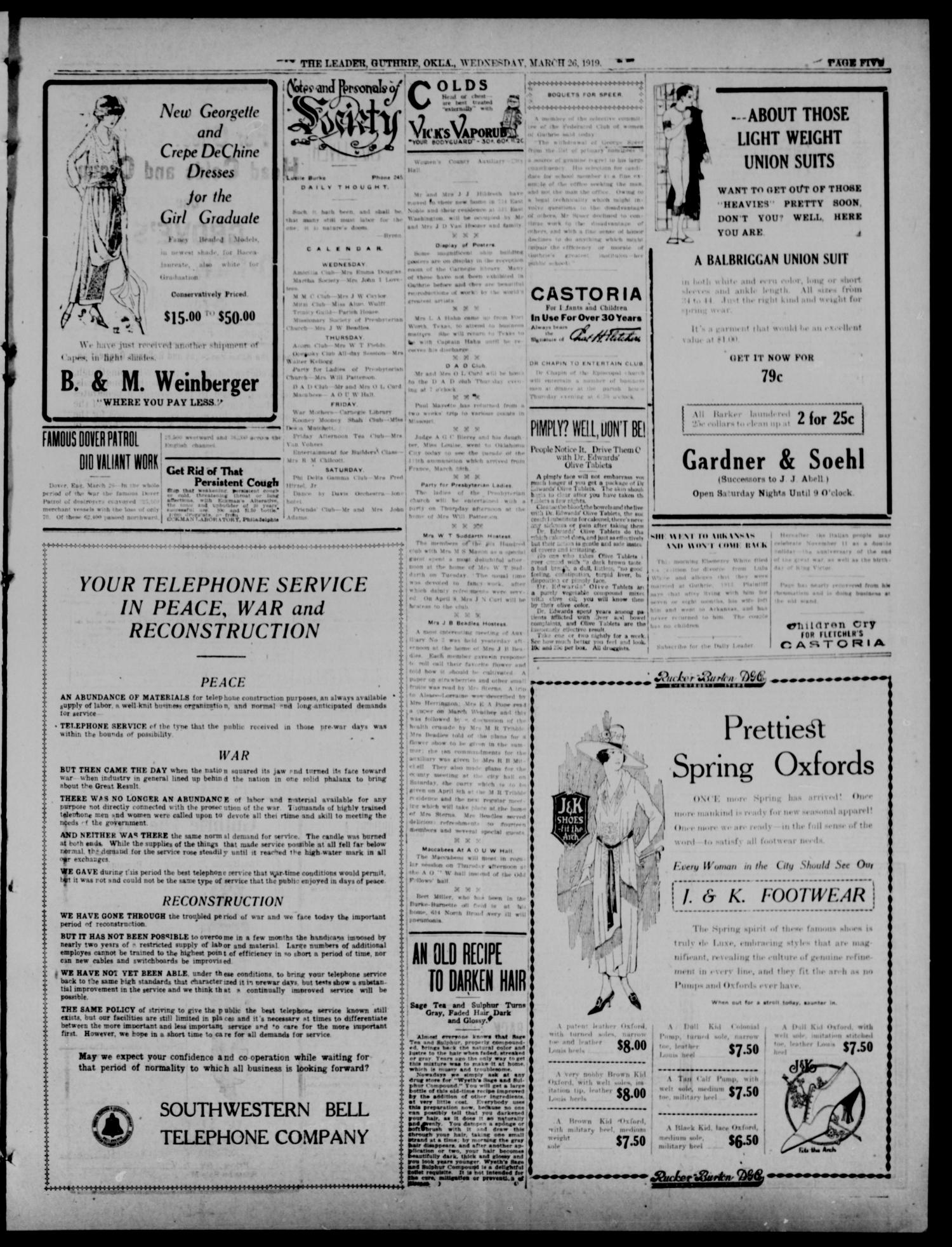 The Guthrie Daily Leader. (Guthrie, Okla.), Vol. 52, No. 31, Ed. 1 Wednesday, March 26, 1919                                                                                                      [Sequence #]: 5 of 8