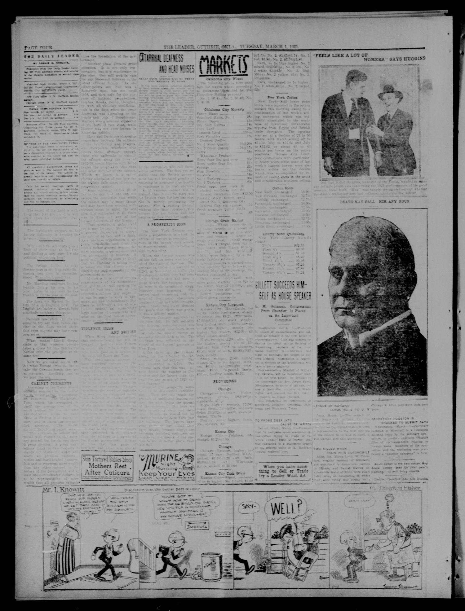 The Guthrie Daily Leader. (Guthrie, Okla.), Vol. 54, No. 147, Ed. 1 Tuesday, March 1, 1921                                                                                                      [Sequence #]: 4 of 8