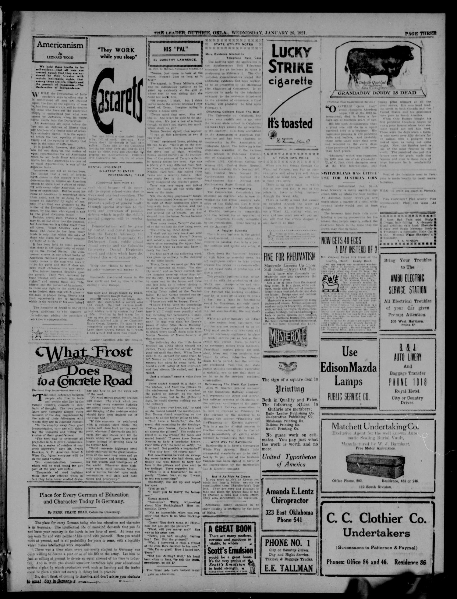 The Guthrie Daily Leader. (Guthrie, Okla.), Vol. 54, No. 119, Ed. 1 Wednesday, January 26, 1921                                                                                                      [Sequence #]: 3 of 8