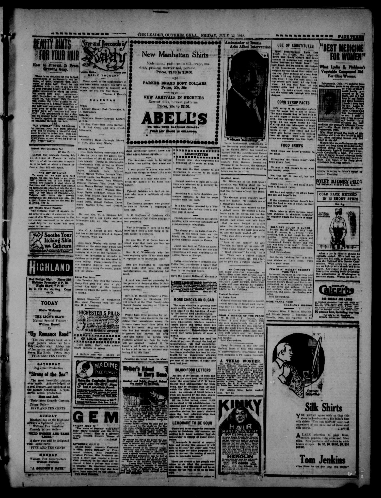 The Guthrie Daily Leader. (Guthrie, Okla.), Vol. 51, No. 140, Ed. 1 Friday, July 12, 1918                                                                                                      [Sequence #]: 3 of 8