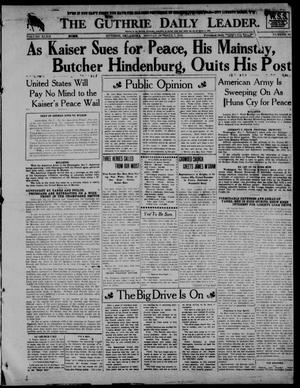 Primary view of object titled 'The Guthrie Daily Leader. (Guthrie, Okla.), Vol. 52, No. 50, Ed. 1 Monday, October 7, 1918'.