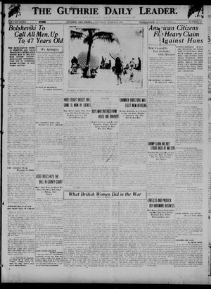Primary view of object titled 'The Guthrie Daily Leader. (Guthrie, Okla.), Vol. 52, No. 17, Ed. 1 Saturday, March 8, 1919'.