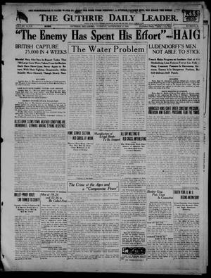 Primary view of object titled 'The Guthrie Daily Leader. (Guthrie, Okla.), Vol. 52, No. 29, Ed. 1 Tuesday, September 10, 1918'.