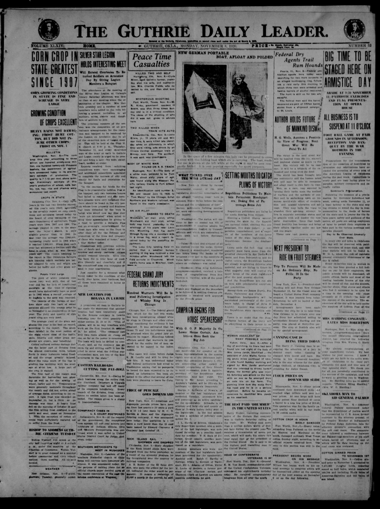 The Guthrie Daily Leader. (Guthrie, Okla.), Vol. 54, No. 52, Ed. 1 Monday, November 8, 1920                                                                                                      [Sequence #]: 1 of 8