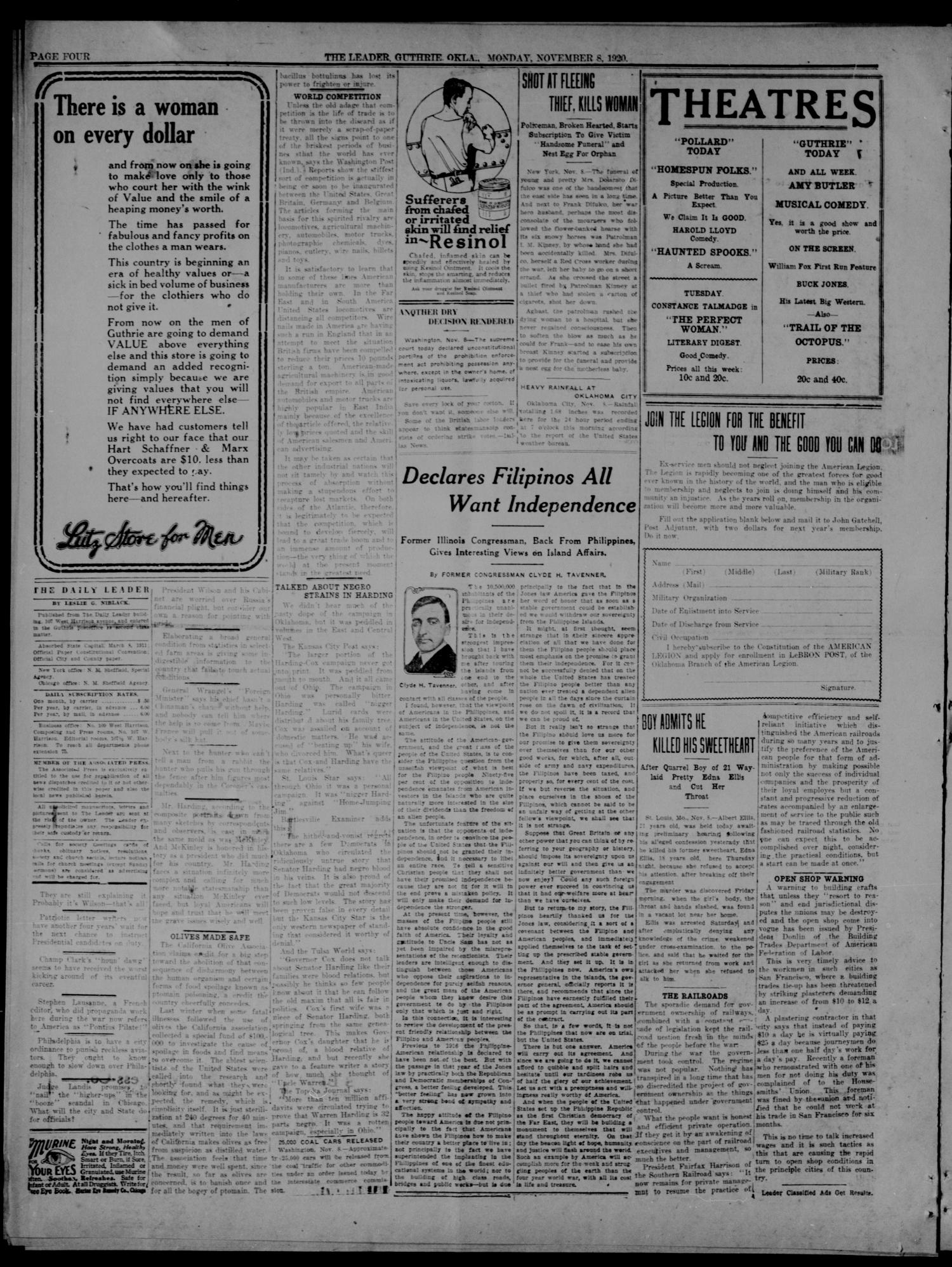 The Guthrie Daily Leader. (Guthrie, Okla.), Vol. 54, No. 52, Ed. 1 Monday, November 8, 1920                                                                                                      [Sequence #]: 4 of 8