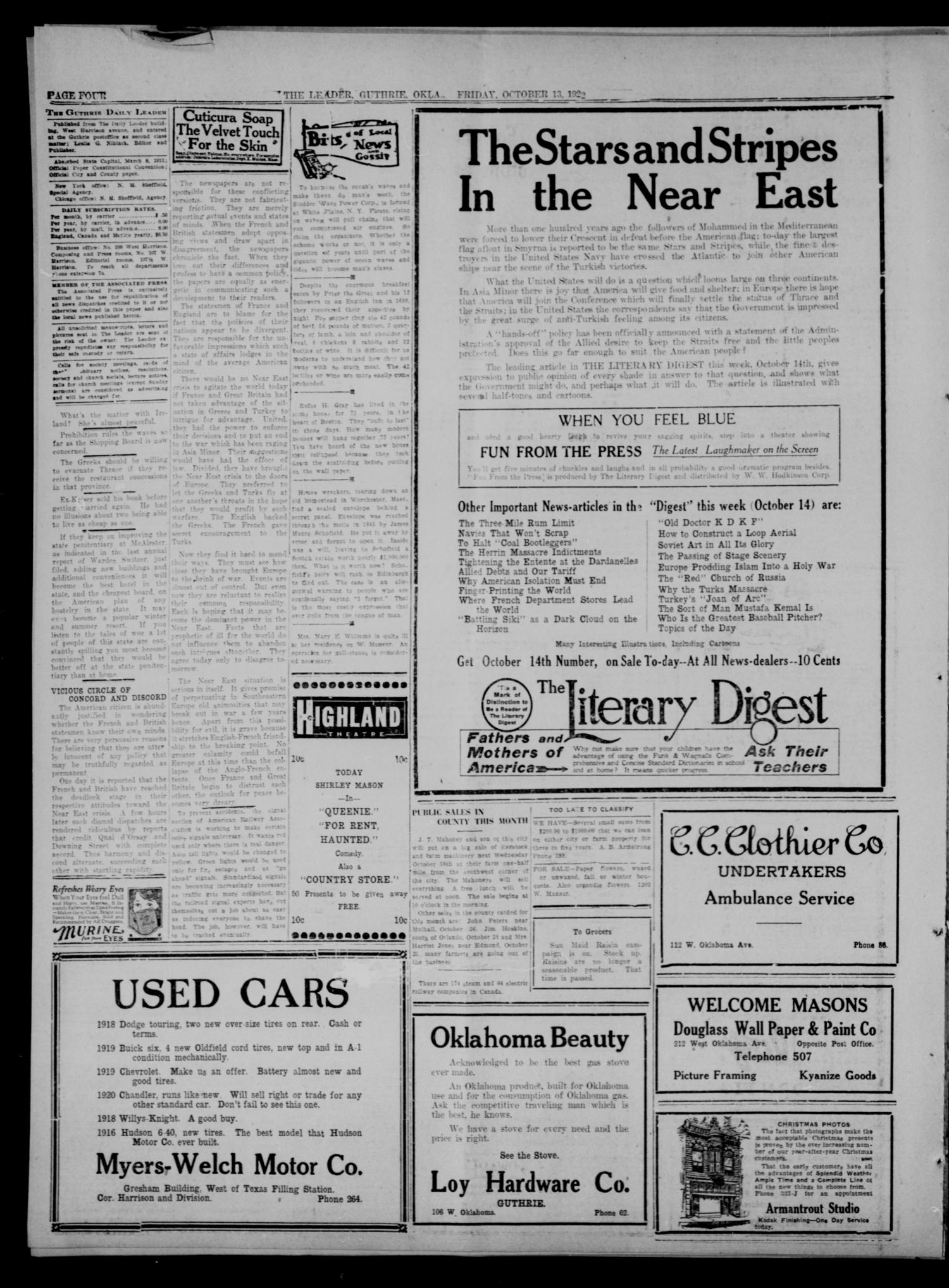 The Guthrie Daily Leader. (Guthrie, Okla.), Vol. 60, No. 21, Ed. 1 Friday, October 13, 1922                                                                                                      [Sequence #]: 4 of 8