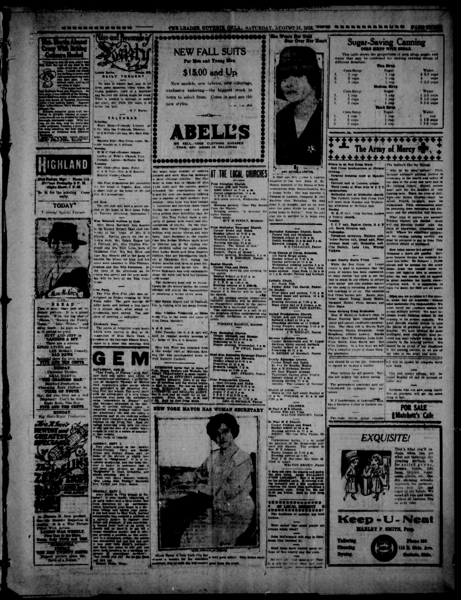 The Guthrie Daily Leader. (Guthrie, Okla.), Vol. 52, No. 22, Ed. 1 Saturday, August 31, 1918                                                                                                      [Sequence #]: 3 of 8