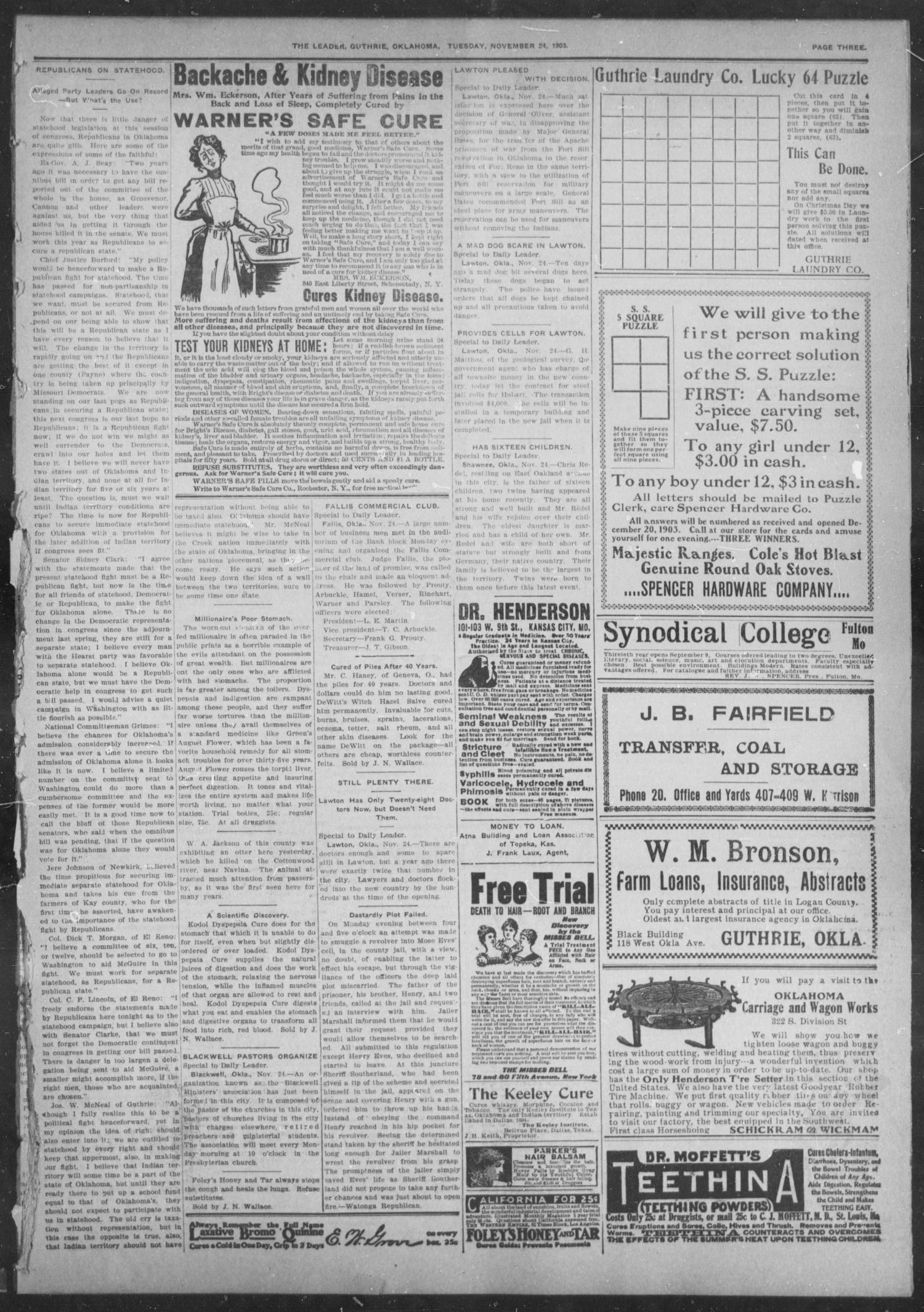 The Guthrie Daily Leader. (Guthrie, Okla.), Vol. 22, No. 111, Ed. 1, Tuesday, November 24, 1903                                                                                                      [Sequence #]: 3 of 8