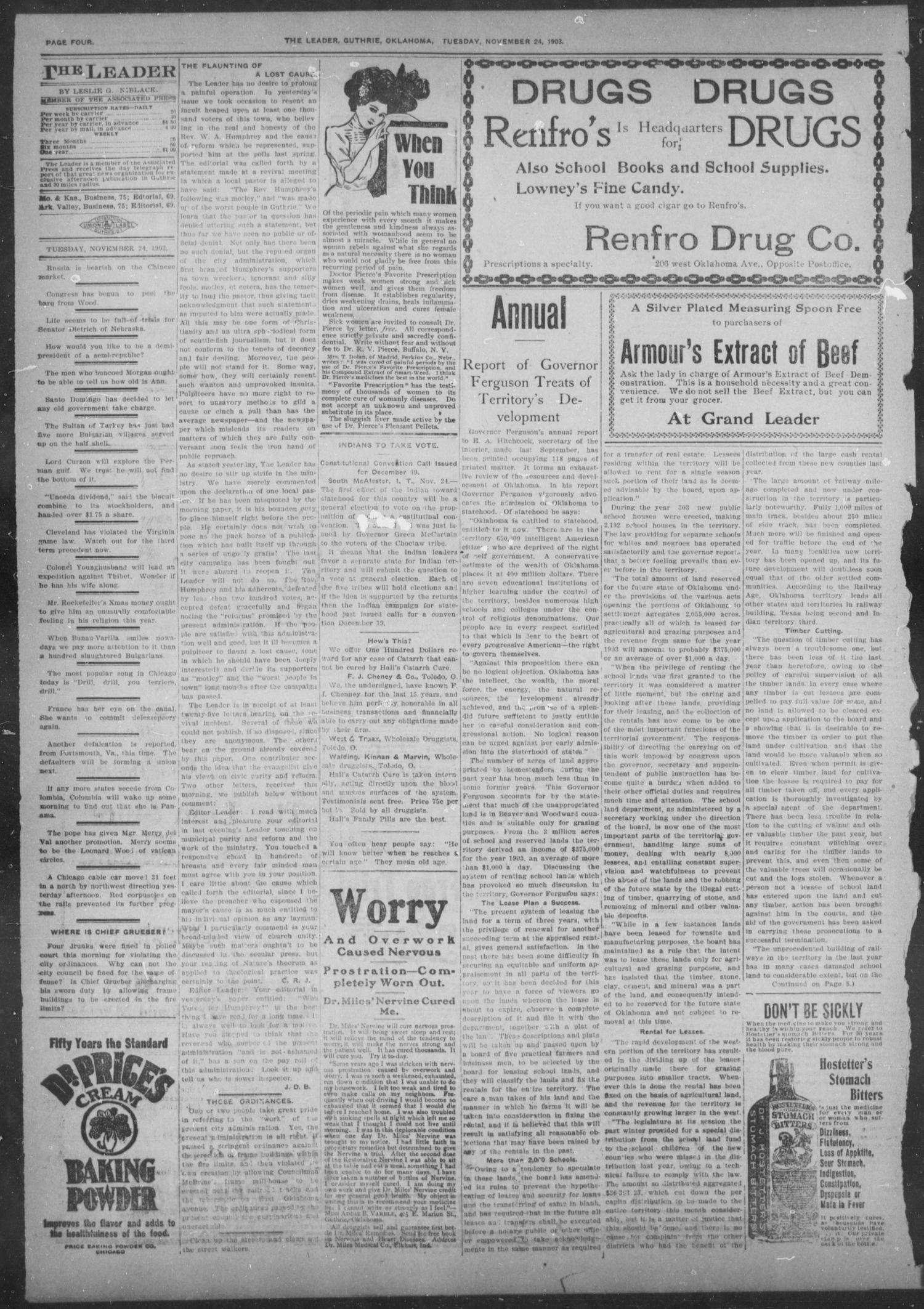 The Guthrie Daily Leader. (Guthrie, Okla.), Vol. 22, No. 111, Ed. 1, Tuesday, November 24, 1903                                                                                                      [Sequence #]: 4 of 8