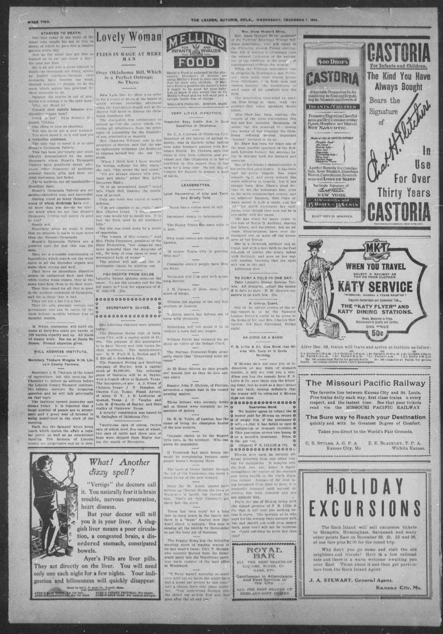 The Guthrie Daily Leader. (Guthrie, Okla.), Vol. 24, No. 116, Ed. 1, Wednesday, December 7, 1904                                                                                                      [Sequence #]: 2 of 8