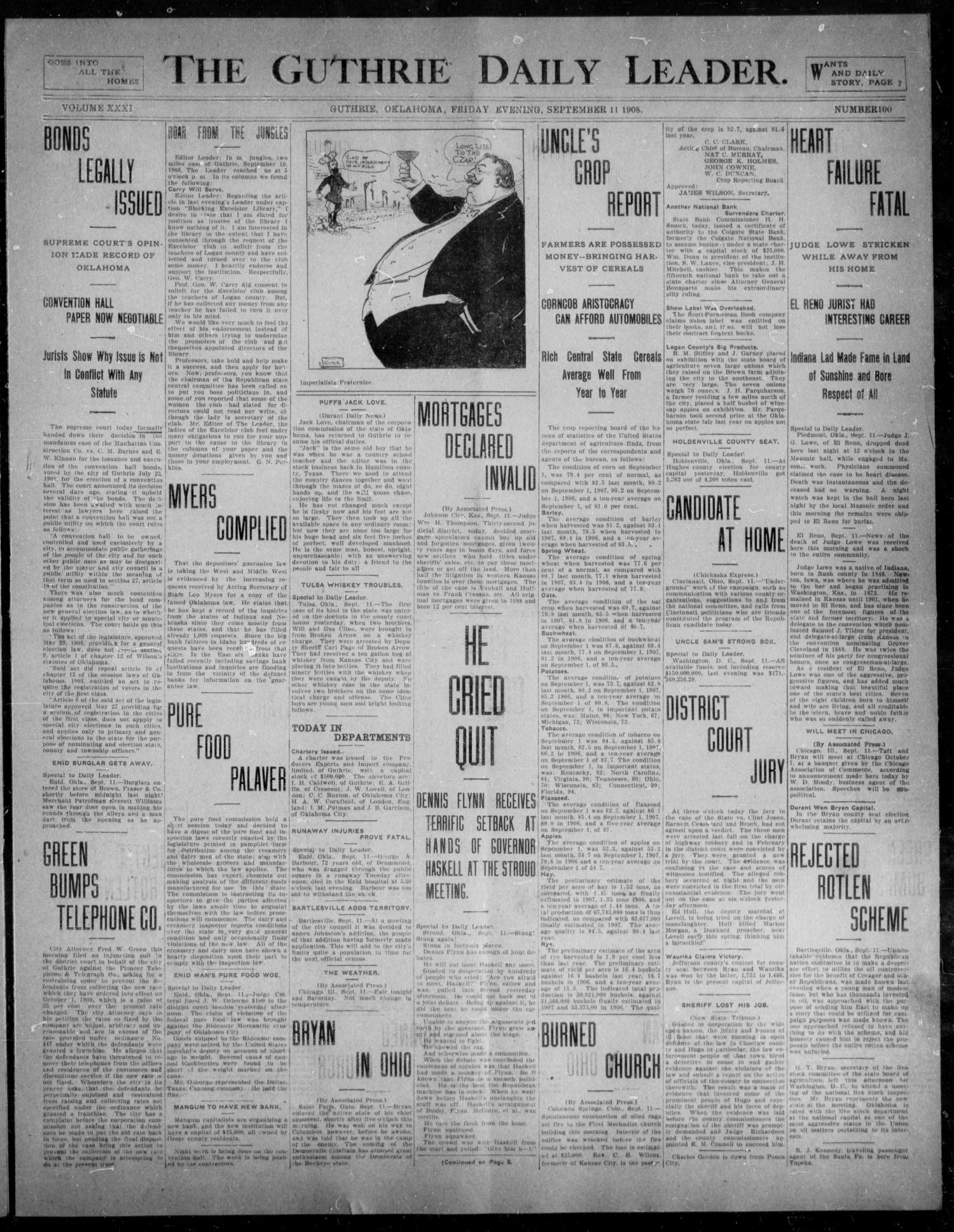 The Guthrie Daily Leader. (Guthrie, Okla.), Vol. 31, No. 100, Ed. 1, Friday, September 11, 1908                                                                                                      [Sequence #]: 1 of 8